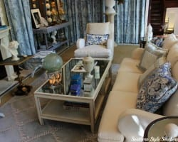 ASO's Blue and White Family Room by Timothy Corrigan